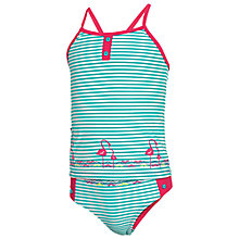 Buy Fat Face Girls' Stripe Flamingo Tankini, Green/Pink Online at johnlewis.com