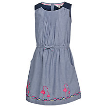 Buy Fat Face Girls' Maisy Chambray Border Dress, Blue Online at johnlewis.com