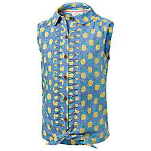 Buy Fat Face Girls' Rebecca Pineapple Blouse, Blue Online at johnlewis.com