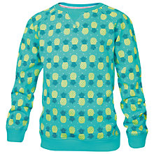 Buy Fat Face Girls' Pineapple Print Crew Neck Jumper, Green Online at johnlewis.com