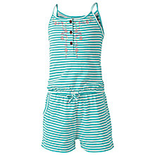 Buy Fat Face Girls' Petra Stripe Jersey Playsuit, Green Online at johnlewis.com