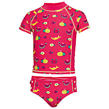 Buy Fat Face Girl's Fruit Rashie Swimsuit Set, Pink Online at johnlewis.com