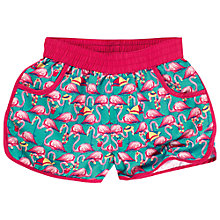 Buy Fat Face Girls' Flamingo Board Shorts, Green Online at johnlewis.com
