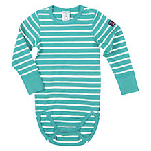 Buy Polarn O. Pyret Baby's Striped Bodysuit, Deep Turquoise Online at johnlewis.com