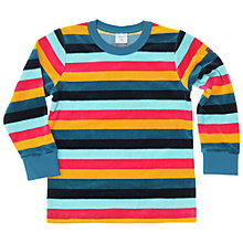 Buy Polarn O. Pyret Children's Velour Stripe Top, Blue Multi Online at johnlewis.com