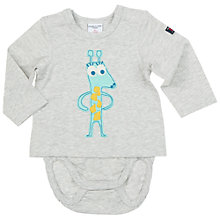 Buy Polarn O. Pyret Baby Animal Appliqué 2-In-1 Bodysuit, Grey Online at johnlewis.com