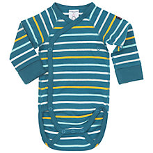 Buy Polarn O. Pyret Baby's Striped Bodysuit, Blue/Teal Online at johnlewis.com