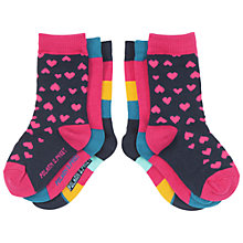Buy Polarn O. Pyret Baby's Heart Socks, Pack of 3, Purple/Multi Online at johnlewis.com