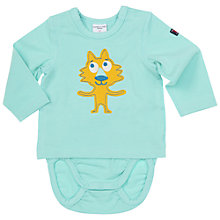 Buy Polarn O. Pyret Baby Animal Applique 2-in-1 Bodysuit, Turquoise Online at johnlewis.com