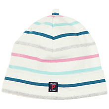 Buy Polarn O. Pyret Baby's Striped Box Logo Beanie Online at johnlewis.com