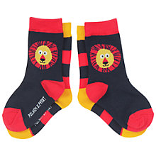 Buy Polarn O. Pyret Baby's Lion Socks, Pack of 2, Black/Orange Online at johnlewis.com