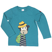 Buy Polarn O. Pyret Children's Monkey Print Top, Blue Online at johnlewis.com