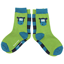 Buy Polarn O. Pyret Children's Monkey Socks, Pack of 2, Green Online at johnlewis.com