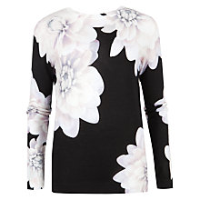 Buy Ted Baker Traze Monochrome Floral Jumper, Black Online at johnlewis.com