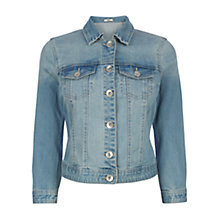 Buy Oasis Sienna Cropped Denim Jacket, Blue Online at johnlewis.com