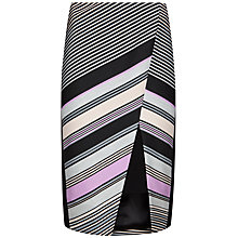 Buy Ted Baker Elowese Stripe Wrap Front Midi Skirt, Light Grey Online at johnlewis.com