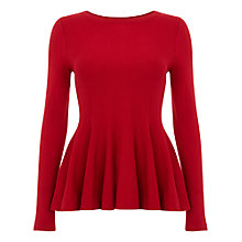 Buy Phase Eight Maritza Peplum Knit Top, Red Online at johnlewis.com