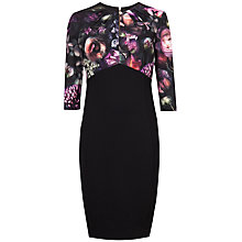 Buy Ted Baker Hounest Shadow Floral Gathered Dress, Black Online at johnlewis.com