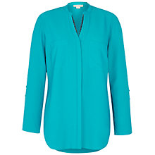 Buy Celuu Georgia Longline Roll Sleeve Blouse, Green Online at johnlewis.com