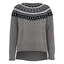 Buy French Connection Fran Fairisle Crew Neck Jumper, Grey Online at johnlewis.com
