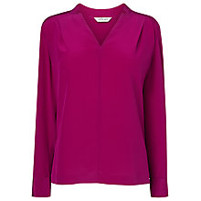 Buy L.K. Bennett Skylar Notch Silk Top, Orchid Online at johnlewis.com