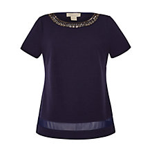Buy Celuu Pandora Embellished Top, Navy Online at johnlewis.com