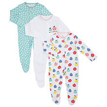 Buy John Lewis Baby Apple Sleepsuits, Pack of 3, Multi Online at johnlewis.com