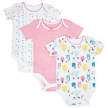 Buy John Lewis Baby Owl Print Bodysuits, Pack of 3, Multi Online at johnlewis.com