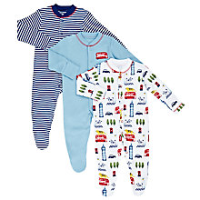 Buy John Lewis Baby London Sleepsuit, Pack of 3, Multi Online at johnlewis.com