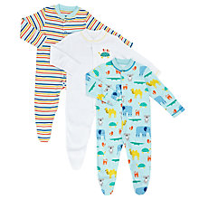 Buy John Lewis Baby Zoo Print Sleepsuits, Pack of 3, Multi Online at johnlewis.com
