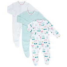 Buy John Lewis Baby Floral and Stripe Sleepsuits, Pack of 3, Multi Online at johnlewis.com