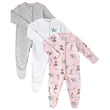 Buy John Lewis Baby Pug Sleepsuits, Pack of 3, Multi Online at johnlewis.com