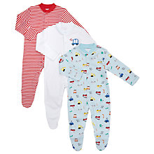 Buy John Lewis Baby Transport and Stripe Print Sleepsuits, Pack of 3, Multi Online at johnlewis.com