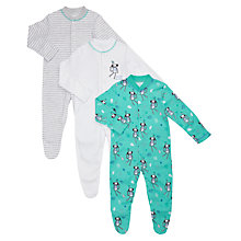 Buy John Lewis Baby Monkey Sleepsuits, Pack of 3, Multi Online at johnlewis.com