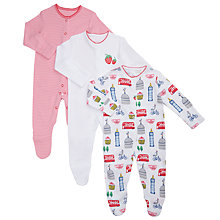 Buy John Lewis Baby London Sleepsuits, Pack of 3, Red/Multi Online at johnlewis.com