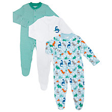 Buy John Lewis Baby Dinosaur Sleepsuits, Pack of 3, Multi Online at johnlewis.com