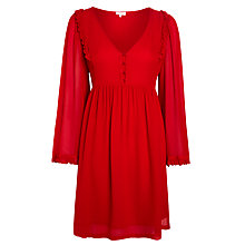Buy Ghost Ruffle Front Dress, Red Online at johnlewis.com