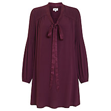 Buy Ghost Tie Neck Crepe Dress, Aubergine Online at johnlewis.com