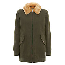 Buy Parka London Karin Long Faux-Fur Lined Bomber, Dark Green Online at johnlewis.com