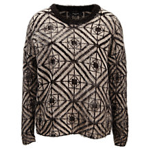 Buy Selected Femme Alia Geometric Jumper, Black/Camel Online at johnlewis.com