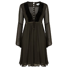 Buy Ghost Velvet Trimmed Georgette Dress, Black Online at johnlewis.com
