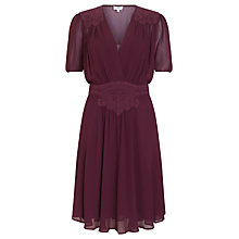Buy Ghost Georgette Dress, Aubergine Online at johnlewis.com