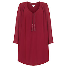 Buy Ghost Tie Neck Dress, Aubergine Online at johnlewis.com