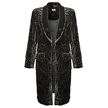 Buy Ghost Long Embroidered Velvet Jacket, Smokey Quartz Online at johnlewis.com