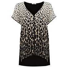 Buy Oasis Faux Leather Trim Animal T-Shirt, Black Online at johnlewis.com