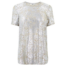Buy Oasis Rose Foil T-Shirt, Silver Online at johnlewis.com