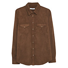 Buy Mango Textured Shirt, Brown Online at johnlewis.com