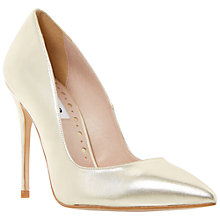 Buy Dune Allegra High Heeled Stiletto Court Shoes, Gold Online at johnlewis.com