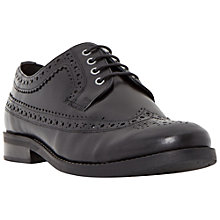 Buy Dune Fillie Flat Lace Up Brogues, Black Leather Online at johnlewis.com