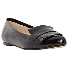 Buy Dune Gersey Leather Slipper Cut Fringe Detail Loafer, Black Online at johnlewis.com
